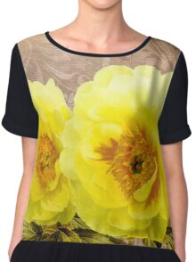Butter yellow Peonies, floral art Chiffon Top