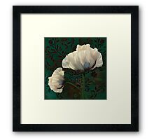Poppies and Verdigris, dramatic cream poppy floral art Framed Print