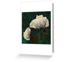Poppies and Verdigris, dramatic cream poppy floral art Greeting Card