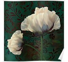 Poppies and Verdigris, dramatic cream poppy floral art Poster