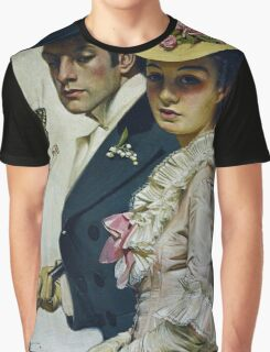 Lovers Taking a Stroll, Vintage fashion illustration art Graphic T-Shirt