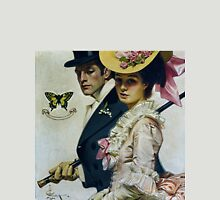 Lovers Taking a Stroll, Vintage fashion illustration art Womens Fitted T-Shirt