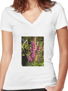 The wild purple flower. Women's Fitted V-Neck T-Shirt