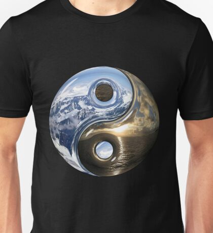Yin Yang Sea Mountains As Planet Earth Unisex T-Shirt