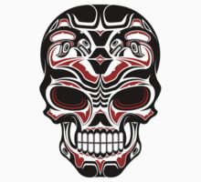 Aged and Worn Haida Native Skull Design One Piece - Short Sleeve