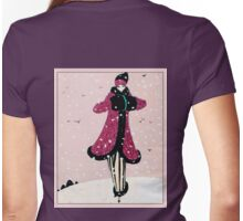 Winter Art Deco Vintage Fashion illustration Womens Fitted T-Shirt