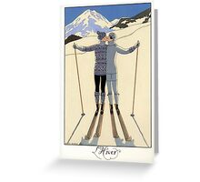 L Hiver, Winter kissing couple fashion illustration Greeting Card