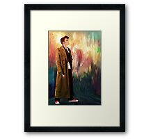 Time Traveller with abstract background art painting Framed Print