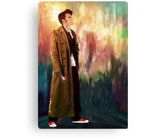 Time Traveller with abstract background art painting Canvas Print