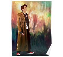 Time Traveller with abstract background art painting Poster