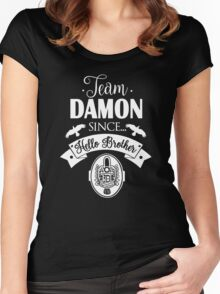 Team Damon Since Hello Brother. Damon Salvatore. TVD. Women's Fitted Scoop T-Shirt