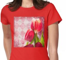 Hot pink and cream tulips, vintage writing, Harlequin print Womens Fitted T-Shirt