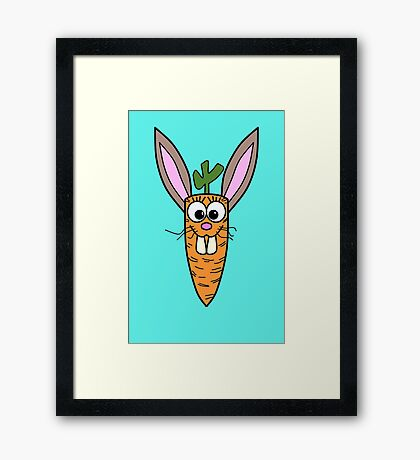 Cute Bunny Rabbit Carrot Framed Print