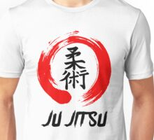 JuJitsu Kanji and red brush circle Unisex T-Shirt