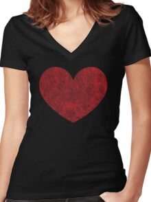 Red Heart Love Women's Fitted V-Neck T-Shirt
