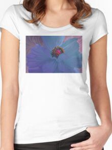 Afterglow, Vibrant, colorful poppy floral art Women's Fitted Scoop T-Shirt