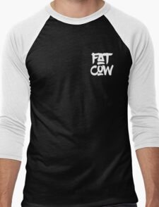 Fat Cow Logo - White Men's Baseball ¾ T-Shirt