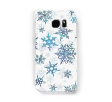 Embroidered Snowflakes on white Samsung Galaxy Case/Skin