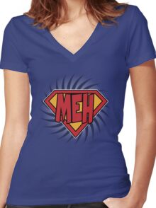 Supermeh Women's Fitted V-Neck T-Shirt