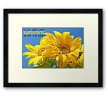 Sunshine After The Rain, you are  Framed Print