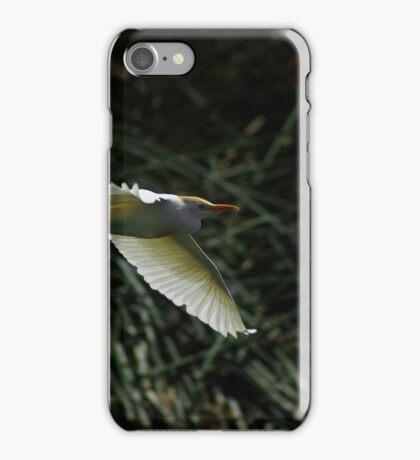 White Cattle Egret Flying iPhone Case/Skin