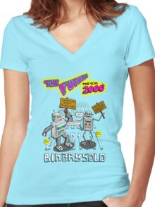 Flight of the Conchords - Binary Solo - Robots 2 Women's Fitted V-Neck T-Shirt