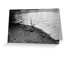 Chair By The Shore - Black and White Greeting Card