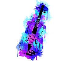 Watercolor Violin (Black Version) Photographic Print