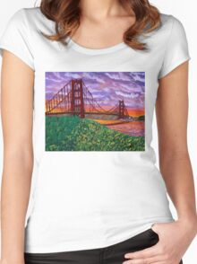 Golden Gate Bridge at Sunset Women's Fitted Scoop T-Shirt