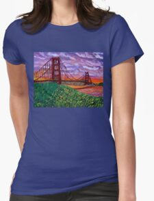 Golden Gate Bridge at Sunset Womens Fitted T-Shirt