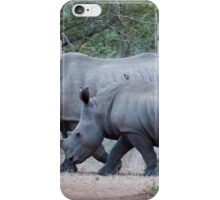 Mother & baby rhinoceros iPhone Case/Skin