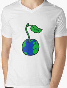 cherry earth planet water continents funny Mens V-Neck T-Shirt