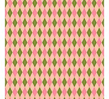 Pink and Green Girlie Preppy Argyle Pattern Photographic Print