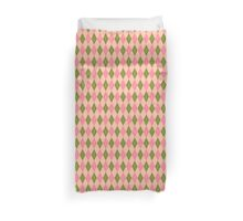 Pink and Green Girlie Preppy Argyle Pattern Duvet Cover