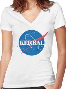 Kerbal Space Program NASA logo (large) Women's Fitted V-Neck T-Shirt