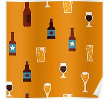 Craft beer glass and bottle icons Poster