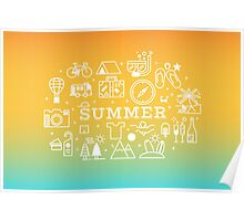 Summer concept line icons illustration Poster