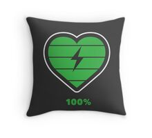 Fully charged heart Throw Pillow