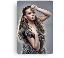 Fashion model on gray background, closeup Canvas Print