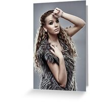 Fashion model on gray background, closeup Greeting Card