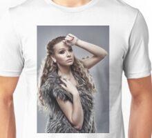 Fashion model on gray background, closeup Unisex T-Shirt