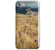 Crocus flowers on a meadow at mountain iPhone Case/Skin