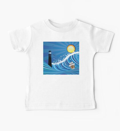 Lighthouse and Boat in the Sea 4 Baby Tee