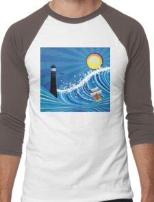 Lighthouse and Boat in the Sea 4 Men's Baseball ¾ T-Shirt