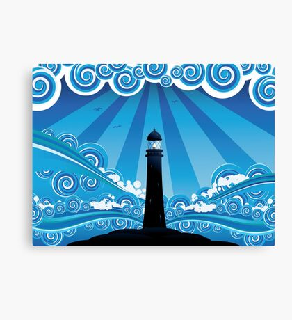 Lighthouse in the Sea 4 Canvas Print