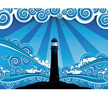 Lighthouse in the Sea 4 Photographic Print