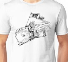 WORK HARD - Knight Riding a Vintage Circular Saw Unisex T-Shirt