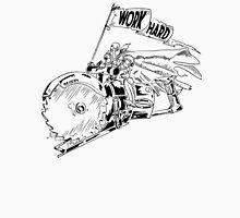 WORK HARD - Knight Riding a Vintage Circular Saw Unisex T-Shirt
