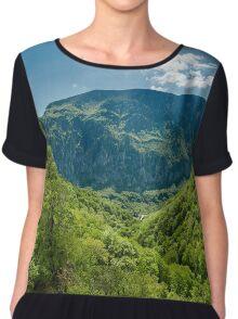 Mountain landscape on springtime Chiffon Top