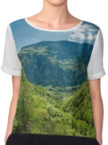 Mountain landscape on springtime Chiffon Top